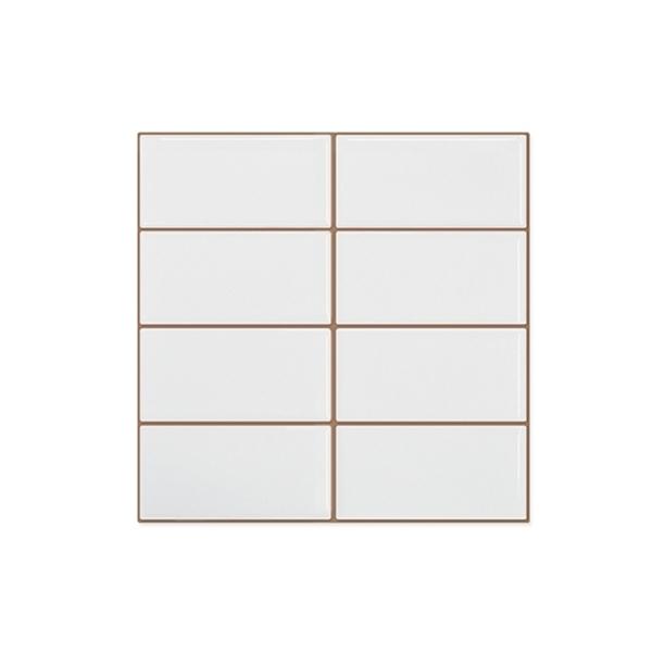 Imagen de Caja 25 un. Placa 20x20 brick blanco brillante 5x10 cm.